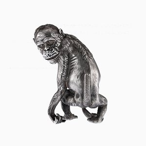 Antique Russian Chimpanzee Shaped Faberge Lighter from Julius Rappoport, 1900s
