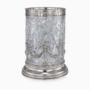 Antike Russische Empire Sicily Vase aus Geschliffenem Glas von Ivan Khlebnikov, 1910er