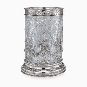 Antique Empire Russian Solid Silver and Cut Glass Vase from Ivan Khlebnikov, 1910s