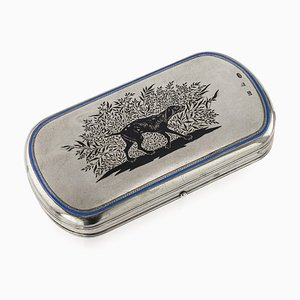 Antique 19th Century Russian Solid Silver and Enamel Cigarette Case from Pavel Ovchinnikov, 1860s