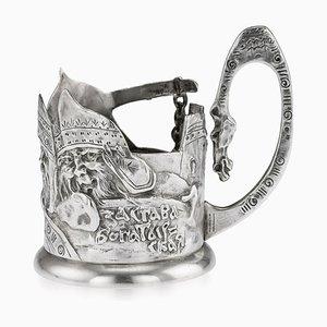 Antiker russischer Bogatyr Teeglashalter aus massivem Silber von Egor Samoshin, 1900er