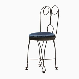 Mid-Century Wire Metal and Velvet Atelier Français Dining Chairs, Set of 8
