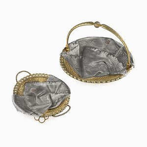 Antique 19th Century Russian Solid Silver Trompe L'oeil Baskets from Pavel Ovchinnikov, 1890s, Set of 2