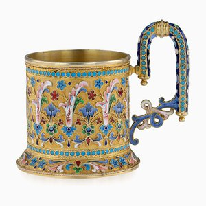 Antique 19th Century Russian Solid Silver-Gilt Enamel Tea Glass Holder from Ivan Saltykov, 1890s