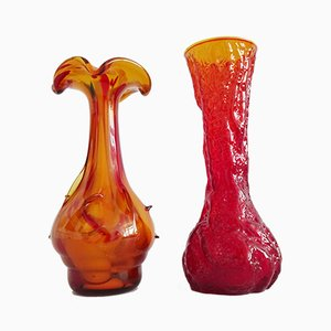Mid-Century Red Glass Vases, Set of 2