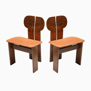 Vintage Cognac Leather Africa Chairs by Tobia & Afra Scarpa for maxalto, 1970s, Set of 4