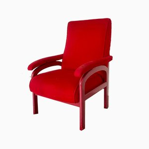 Red Fabric and Wood Reclining Lounge Chair, 1970s