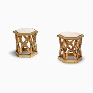 Tavolini vintage in legno intagliato con ripiano in marmo, anni '70, set di 2