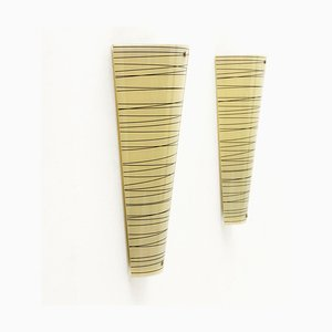 Yellow and Black Striped Glass Sconces, 1980s, Set of 2