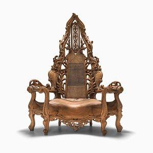 Sedia da trono vintage in quercia intagliata, Francia