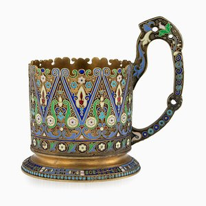 Antique Russian Solid Silver-Gilt Enamel Tea Glass Holder from 11th Moscow Artel, 1910s