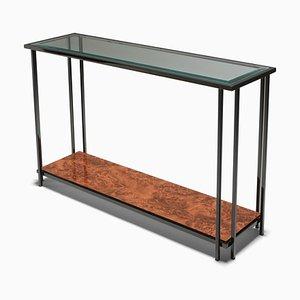 Consolle vintage a due ripiani in metallo nero di M2000 Furniture Co., Stati Uniti