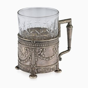 Antique Empire Russian Solid Silver and Cut Glass Tea Holder from Yegor Cheryatov, 1910s