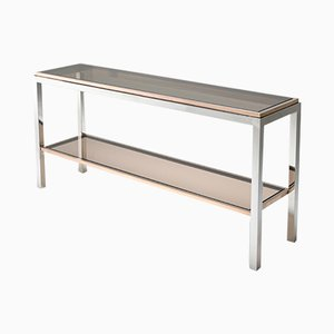 Vintage Chrome and Brass Linea Flaminia 2-Tier Console Table from Willy Rizzo