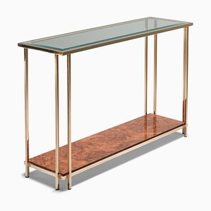 Vintage Gold and Burl Console Table from Maison Jansen