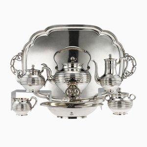 Antiker russischer Tee Service aus solidem Silber von Sazikov, 1866, 7er Set