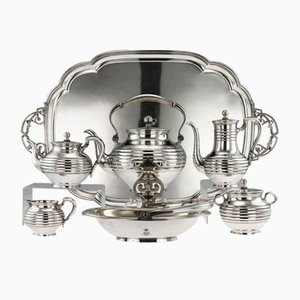Antique 19th Century Russian Solid Silver Tea Service from Sazikov, 1866, Set of 7
