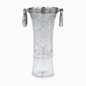 Antike Russische Vase aus Massivem Silber & Geschliffenem Glas von Nikifor Kxristov, 1910er