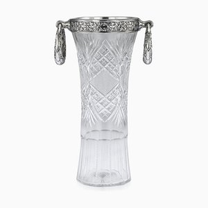 Antique Russian Empire Solid Silver & Cut Glass Vase from Nikifor Kxristov, 1910s