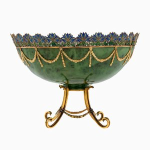 Vintage Russian Style 18k Gold, Nephrite, Diamonds, and Rubies Bowl by S.Rudle for Tanagro Jewelry Corporation, 1980s