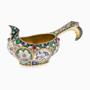 Antique Russian Solid Silver & Shaded Enamel Kovsh from Grigory Sbitnev, 1910s