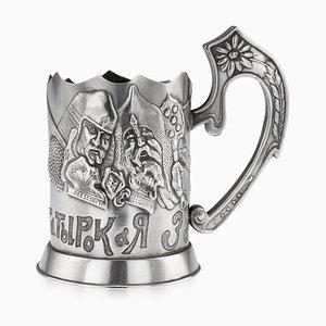 Antiker russischer Bogatyr Teeglashalter aus massivem Silber, 1920er