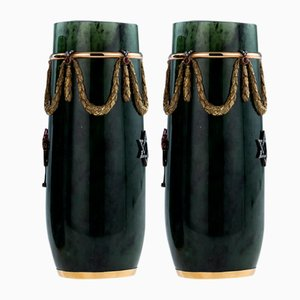 Vintage Russian Style 18k Gold, Nephrite, Diamonds, and Rubies Vases by Tanagro Jewelry Corporation for Tanagro Jewelry Corporation, 1980s, Set of 2