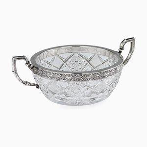 Cuenco ruso antiguo de cristal tallado plateado de the 15th Artel, años 10