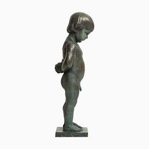 Schwedische Skulptur eines Jungen mit Apfel von Anders Jönsson für Erik Pettersson Fud, 1940er
