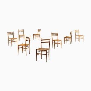 Italienische Esszimmerstühle im Stil von Gio Ponti, 1950er, 8er Set