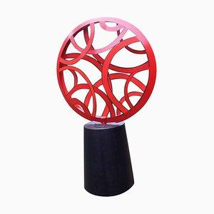 Lámpara de pared modelo Red Outdoor grande abstracta de acero pintado