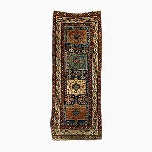 Antique Long Gendje Kazak Caucasian Carpet in Green and Blue