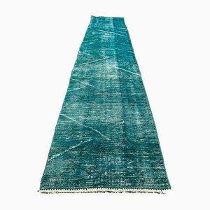 Distressed Turkish Narrow Runner Rug in Wool Overdyed Blue