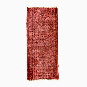 Distressed Turkish Narrow Runner Rug in Wool Overdyed Red and Black