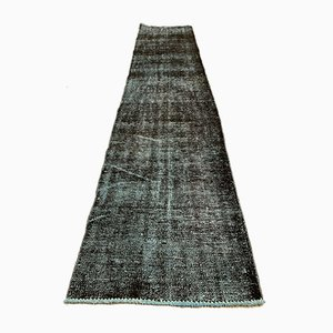Distressed Turkish Narrow Runner Rug in Wool Overdyed Black