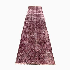 Distressed Turkish Narrow Runner Rug in Wool Overdyed Maroon