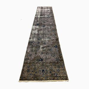 Distressed Turkish Narrow Runner Rug in Wool Overdyed Green
