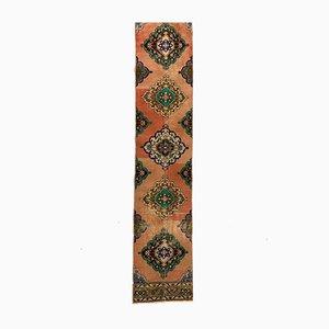 Türkischer Vintage Tribal Teppich in Rosa & Grün in Distressed Wooden