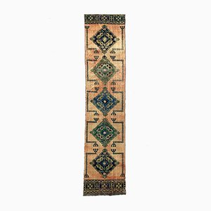 Vintage Turkish Pink and Green Distressed Woolen Tribal Runner Rug