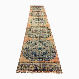 Vintage Turkish Pink and Green Distressed Woolen Tribal Runner Rug