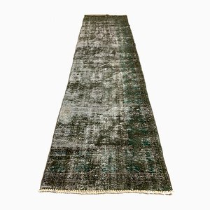 Vintage Turkish Overdyed Black Distressed Woolen Tribal Runner Rug