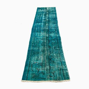 Vintage Turkish Overdyed Blue Distressed Woolen Tribal Runner Rug