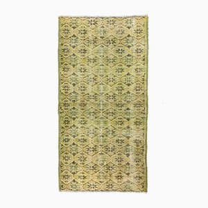 Vintage Turkish Overdyed Yellow and Black Distressed Woolen Tribal Runner Rug
