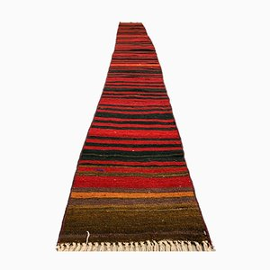Vintage Turkish Shabby Chic Red and Black Kilim Runner Rug