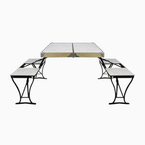 Tavolo e sedie da campeggio pieghevoli di Milwaukee Stamping Co., anni '50