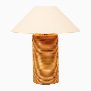 Mid-Century Solid Wood Bamboo Plated Table Lamp