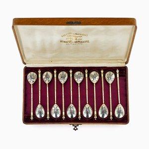 Antique Russian Silver-Gilt Niello Spoons from Nikolai Nemirov-Kolodkin, 1900s, Set of 12