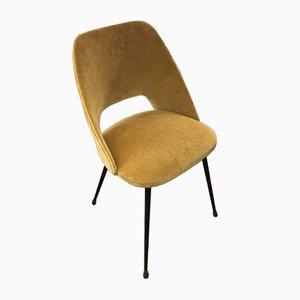 Goldfarbener Tonneau Stuhl aus Samt von Pierre Guariche, 1960er