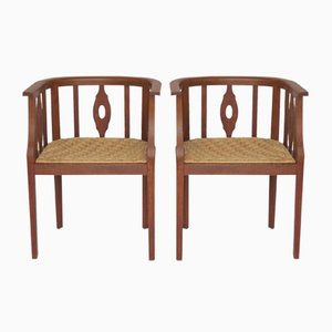 Oak Armchairs by Wilhelm Schmidt for Prag Rudniker, 1920s, Set of 2