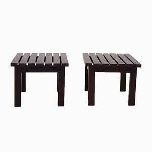 Mid-Century Dutch Slat Side Tables in the Style of Martin Visser, 1950s, Set of 2